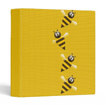 Cute Yellow Brown Abstract Honey Bees Pattern Binder
