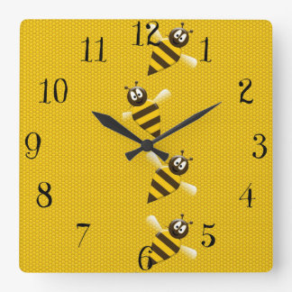 Cute Yellow Brown Abstract Honey Bees Pattern Square Wall Clock
