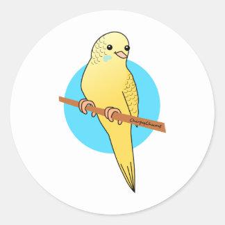 Cute Yellow Budgie Round Sticker