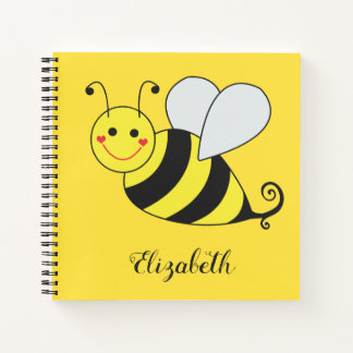 Cute Yellow Bumble Bee Personalize Notebook