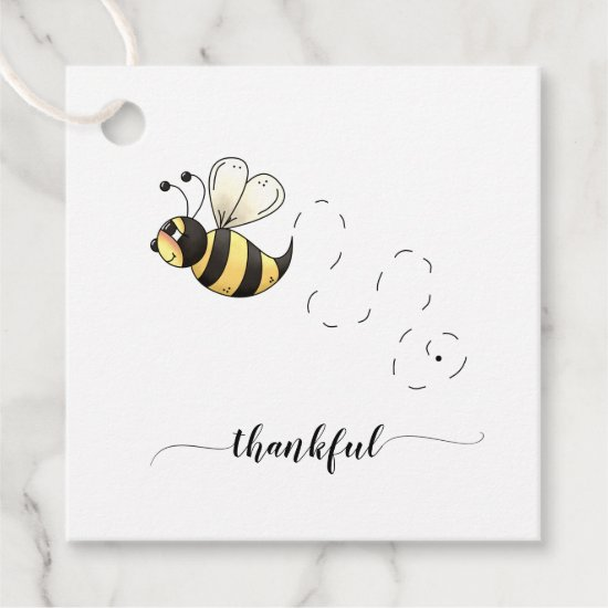 Cute Yellow Bumble Bee Thankful Thank You Favor Tags