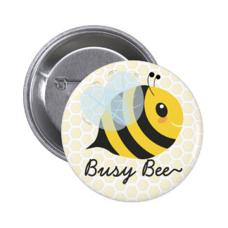 Cute Yellow Busy Bee with Honeycomb pattern Button