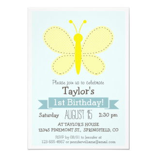 Cute Yellow Butterfly Kid's Birthday Party Cards