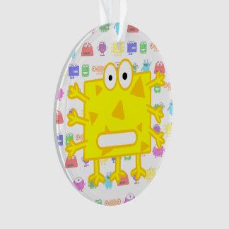 Cute Yellow Cartoon Monster Ornament