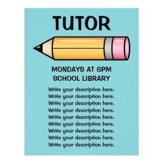 Cute Yellow Cartoon Pencil Tutor Template Flyer
