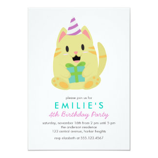 Cute Yellow Cat Kids Birthday Party 5x7 Paper Invitation Card