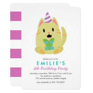 Cute Yellow Cat Kids Birthday Party Card