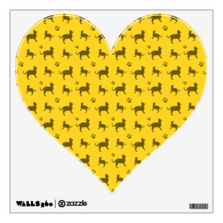 Cute yellow cats and paws pattern wall decor