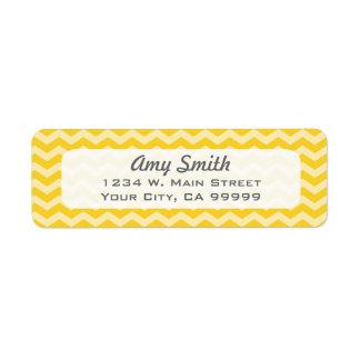 Cute Yellow Chevron Stripes Return Address Label