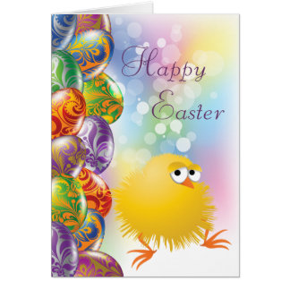 Cute Yellow Chick Beautiful Easter Eggs Cards