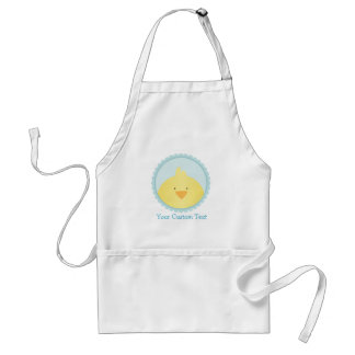 Cute Yellow Chick / Blue Seal + Custom Text Adult Apron
