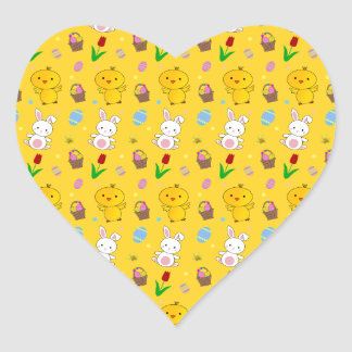 Cute yellow chick bunny egg basket easter pattern heart sticker