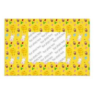 Cute yellow chick bunny egg basket easter pattern photo