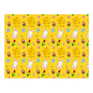 Cute yellow chick bunny egg basket easter pattern postcard