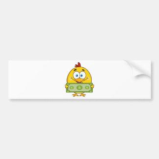 cute yellow chick cartoon character holding cash bumper sticker