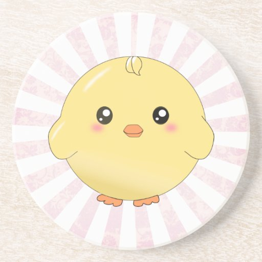 Cute yellow chick coaster