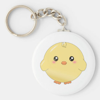 Cute yellow chick basic round button keychain