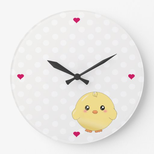 Cute yellow chick large clock