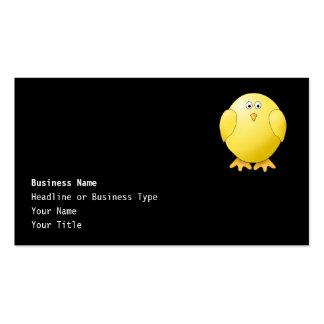Cute Yellow Chick. Little Bird on Black. Business Card