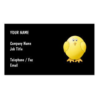 Cute Yellow Chick. Little Bird on Black. Business Card Templates