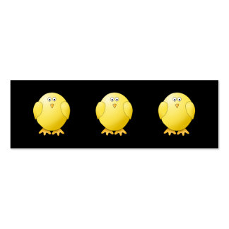 Cute Yellow Chick. Little Bird on Black. Business Cards