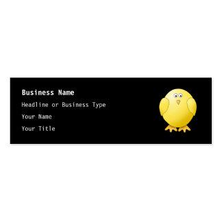Cute Yellow Chick. Little Bird on Black. Business Card Template