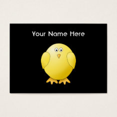 Cute Yellow Chick. Little Bird On Black. Business Card at Zazzle