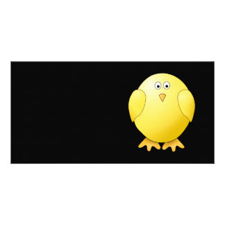 Cute Yellow Chick. Little Bird on Black. Card