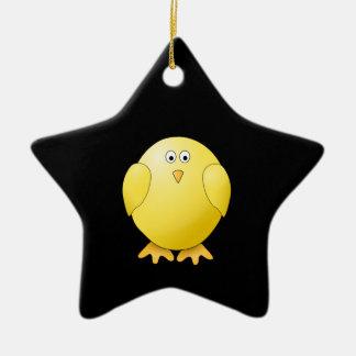 Cute Yellow Chick. Little Bird on Black. Ceramic Ornament