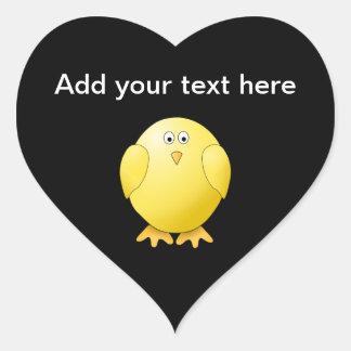 Cute Yellow Chick. Little Bird on Black. Heart Sticker