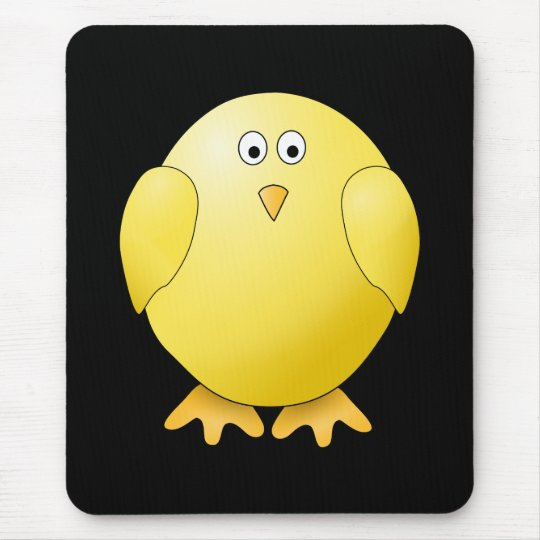 Cute Yellow Chick. Little Bird on Black. Mouse Pad