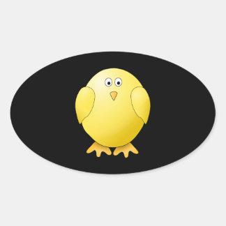 Cute Yellow Chick. Little Bird on Black. Oval Sticker