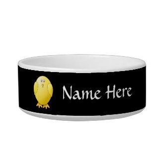 Cute Yellow Chick. Little Bird on Black. Cat Water Bowl