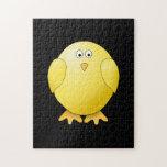 Cute Yellow Chick. Little Bird on Black. Jigsaw Puzzles