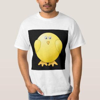Cute Yellow Chick. Little Bird on Black. T-Shirt