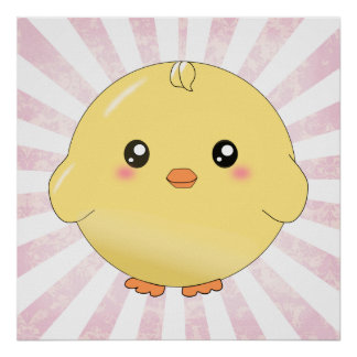 Cute yellow chick poster