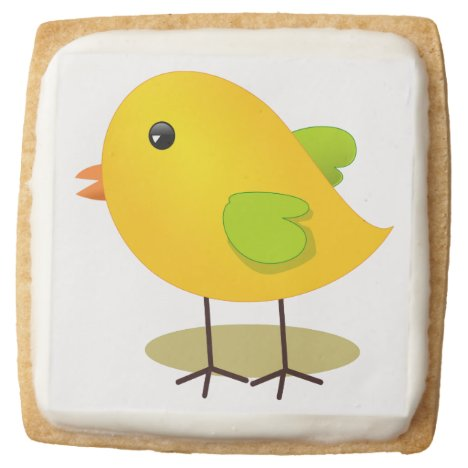 Cute Yellow Chick Square Shortbread Cookie