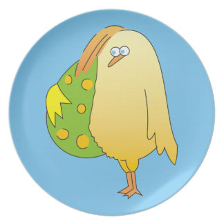 Cute Yellow Chick with Egg Easter Plates