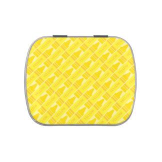 Cute Yellow Crayon Artsy Pattern Candy Tin