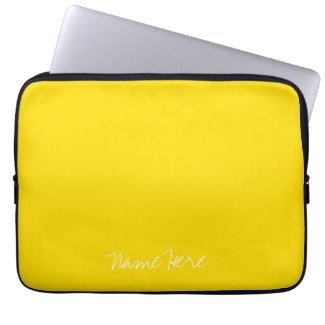 Cute Yellow Custom Name Computer Sleeve