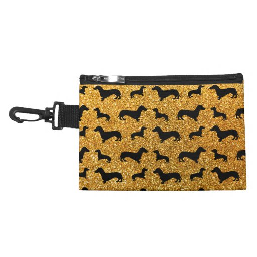 Cute yellow dachshund glitter pattern accessories bags