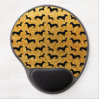 Cute yellow dachshund glitter pattern gel mouse pad