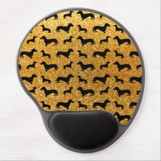 Cute yellow dachshund glitter pattern gel mouse pad