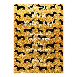 Cute yellow dachshund glitter pattern 5x7 paper invitation card