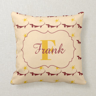 Cute Yellow Dachshund Monogram Name Throw Pillow