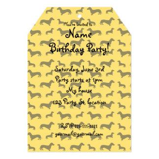Cute yellow dachshund pattern 5x7 paper invitation card