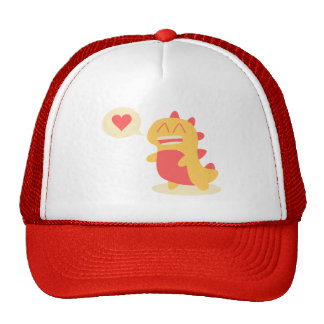 Cute Yellow Dino Dinosaur Talks About Love Trucker Hat