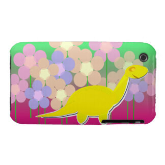Cute Yellow Dinosaur Flowers iPhone Case Case-Mate iPhone 3 Cases