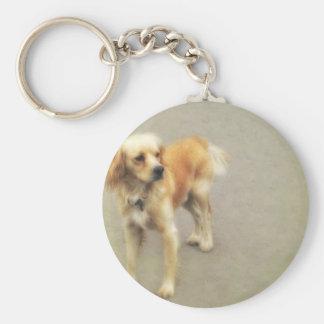 Cute Yellow Dog Basic Round Button Keychain