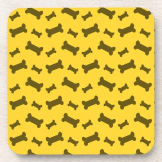 Cute yellow dog bones pattern drink coasters